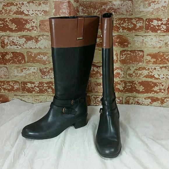 cd75bd88691 Bandolino Carlotta leather black brown boots 6.5 m